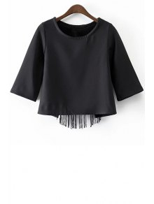 Black Tassels Cut Out Round Neck Half Sleeve T-Shirt