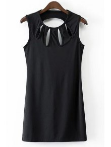 Solid Color Hollow Out Jewel Neck Sleeveless Dress