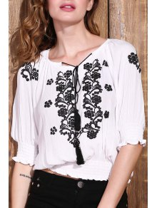 Embroidered Elastic Hem White Top