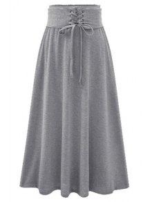 Buy Pure Color Flared Midi Skirt - LIGHT GRAY L