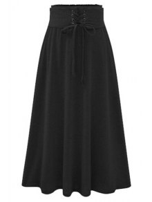 Buy Pure Color Flared Midi Skirt - BLACK M