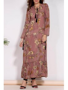 Printed Plunging Neck Long Sleeve Maxi Dress - Brown L