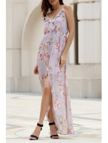 High Slit Spaghetti Straps Double-Layered Maxi Dress
