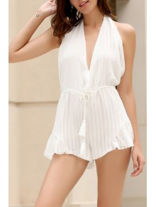 White Halter Backless Romper - White