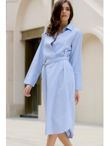 Bowknot Solid Color Turn-Down Collar Long Sleeve Dress