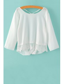 Back Cut Out 3/4 Sleeve Lace Spliced Blouse
