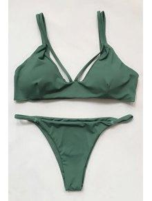 Women High-Cut Green Bikini Set