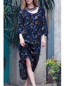 Split Sleeve Floral Print Boho Dress - Blue M