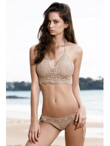 Tie Side Crochet Bikini Set - Khaki