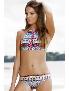 Halter Jewelry Print Bikini Set - Green M