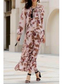Imprimé Plongeant Manches Longues Col Maxi Dress - Rose PÂle M