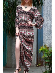Ethnic Print Floor-Length Dress