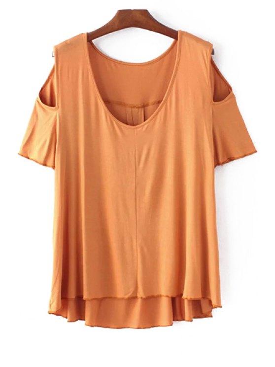outfit Solid Color Scoop Neck Short Sleeve Cold Shoulder T-Shirt - GINGER S