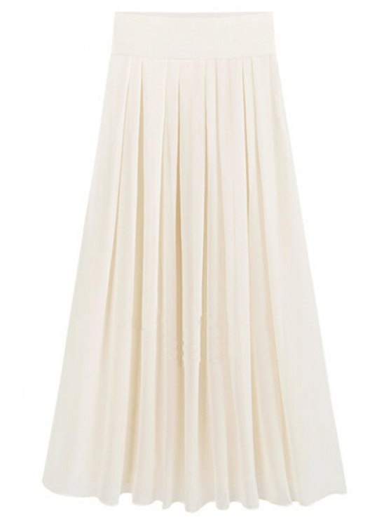 hot Flared Solid Color Chiffon Skirt - BEIGE 2XL