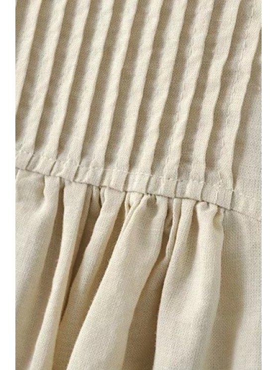 Pockets Sleeveless Notched Neck Dress - APRICOT S Mobile