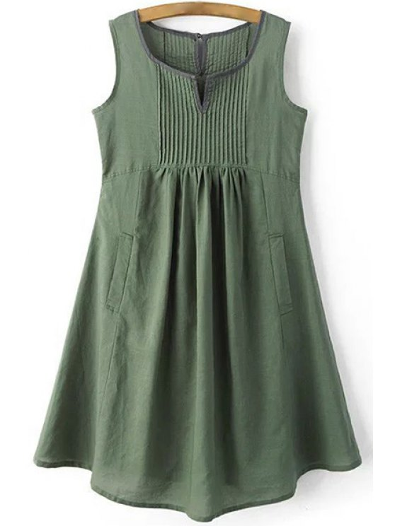 Pockets Sleeveless Notched Neck Dress - GREEN M Mobile