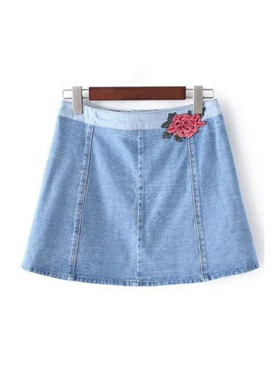 Denim Pockets Floral Embroidery Skirt - LIGHT BLUE L Mobile