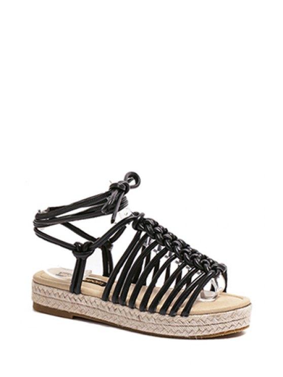 fancy Solid Color Weaving Lace-Up Sandals - BLACK 38