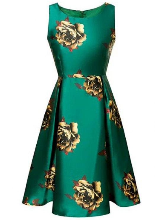 unique Large Floral Print A-Line Dress - GREEN S