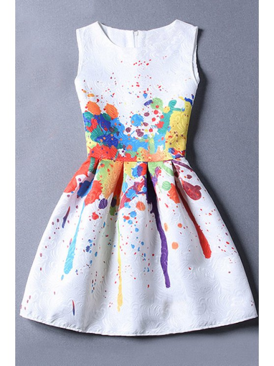 fashion Sleeveless Jacquard White Dress - WHITE M