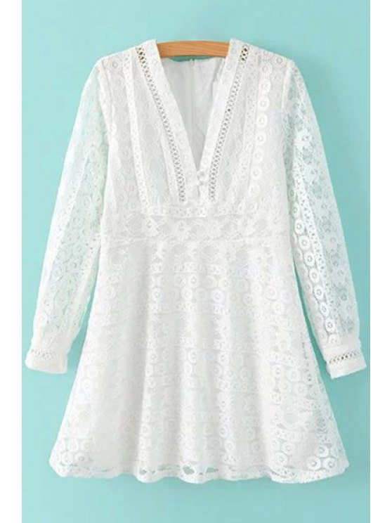 outfits Deep V Neck White Lace Dress - WHITE S