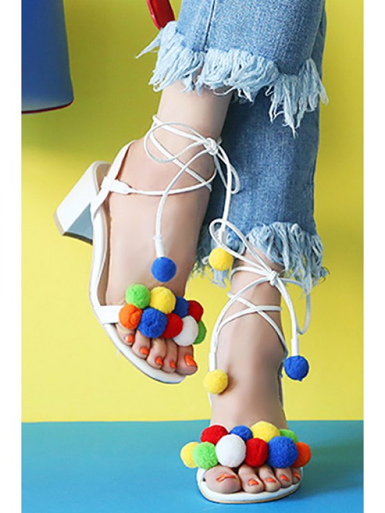 Colorful Pompon Lace-Up Chunky Heel Sandals - WHITE 36 Mobile