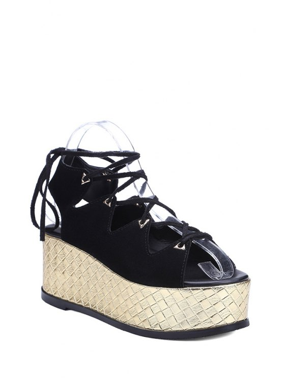 fancy Platform Lace-Up Black Sandals - BLACK 37