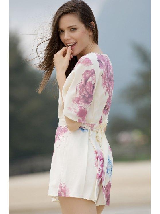 Floral Plunging Neck Short Sleeve Romper - COLORMIX L Mobile