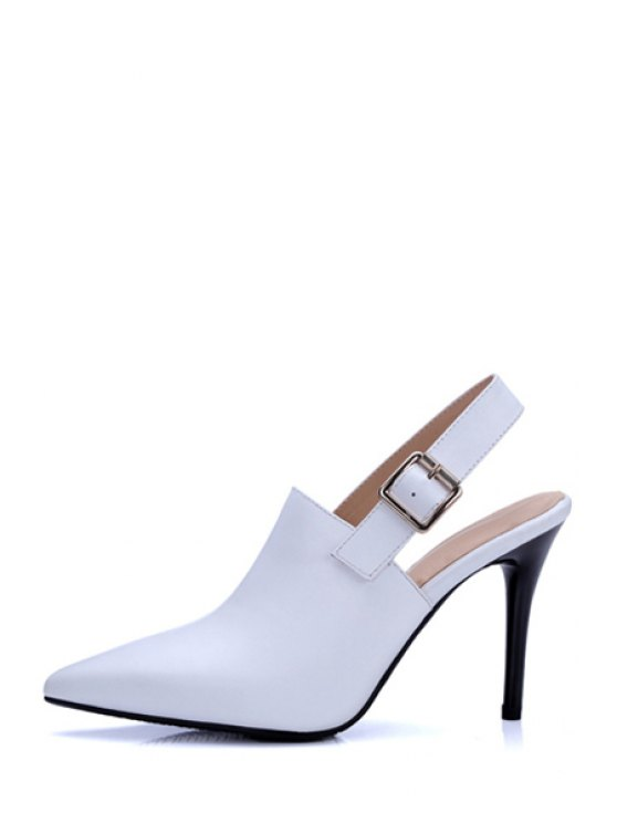 Slingback Pointed Toe Stiletto Heel Pumps - WHITE 37 Mobile