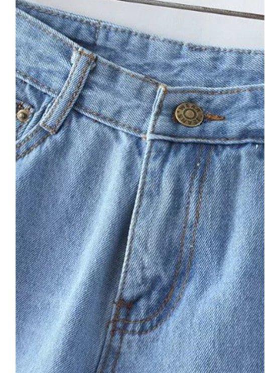 Fitting Light Blue Mid-Waist Denim Shorts - LIGHT BLUE S Mobile