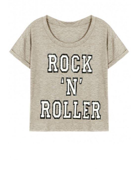 buy Letter Pattern Short Sleeve Round Neck T-Shirt - GRAY L
