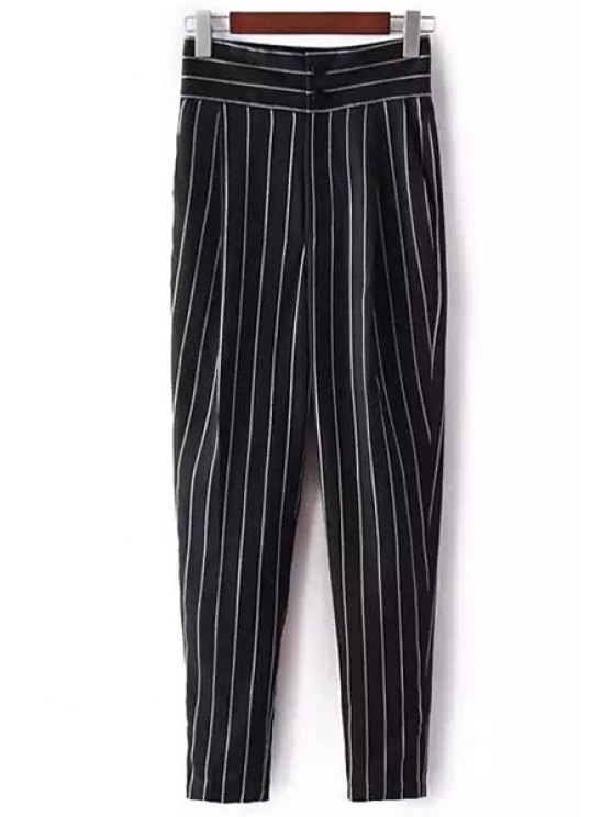 unique Striped High-Waisted Chino Pants - BLACK S