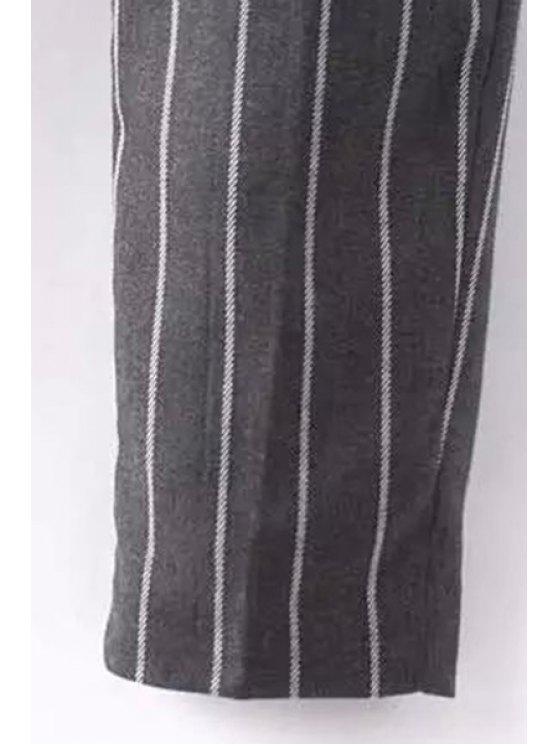 Striped High-Waisted Chino Pants - BLACK S Mobile