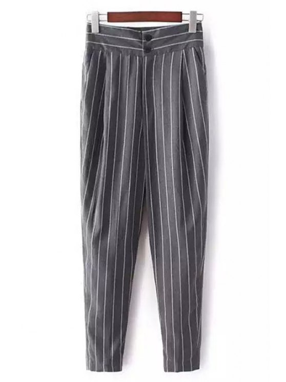 chic Striped High-Waisted Chino Pants - GRAY S
