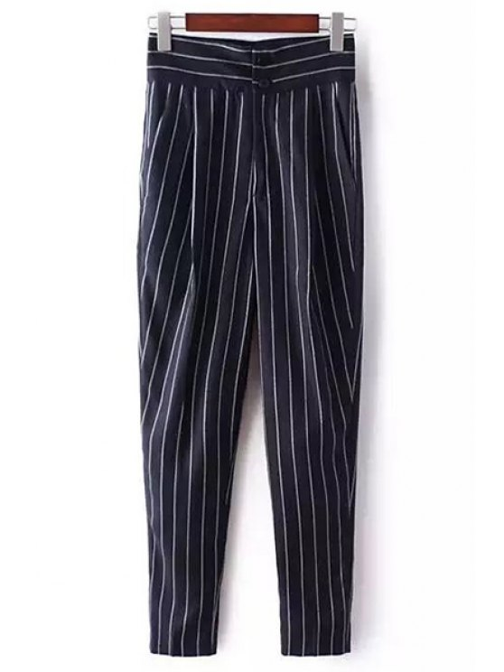 fashion Striped High-Waisted Chino Pants - DEEP BLUE M