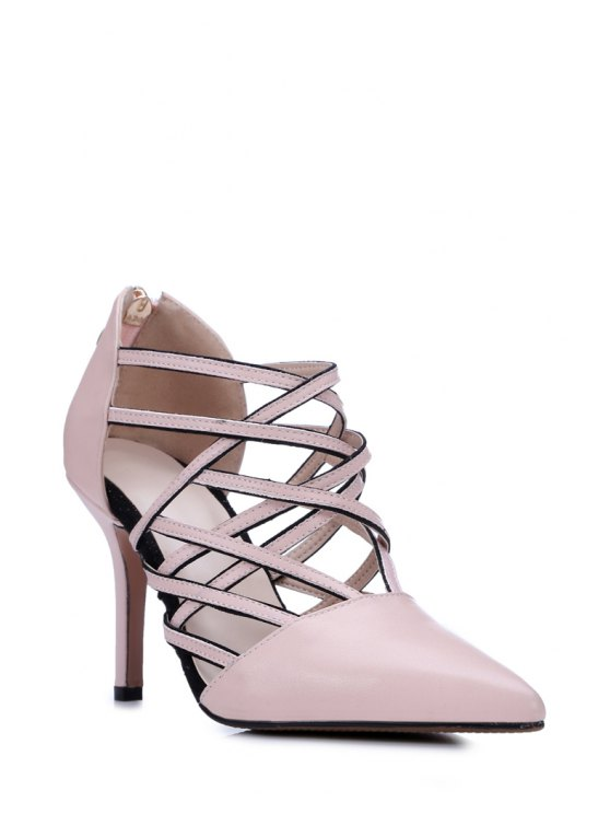 hot Strappy Pointed Toe Pink Pumps - PINK 39