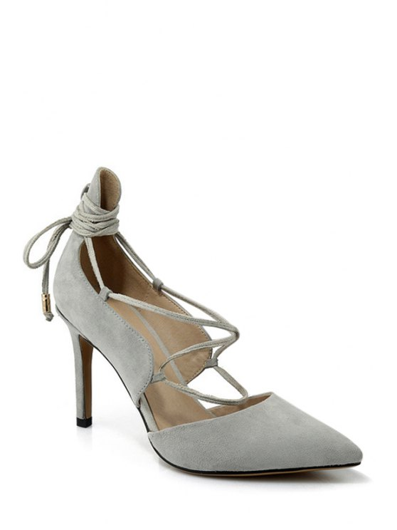 womens Solid Color Lace-Up Stiletto Heel Pumps - LIGHT GRAY 38
