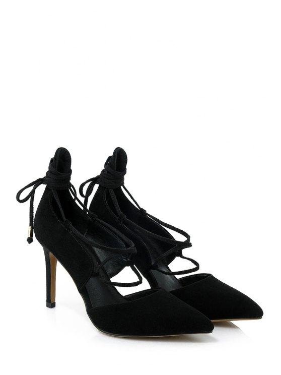 Solid Color Lace-Up Stiletto Heel Pumps - BLACK 37 Mobile