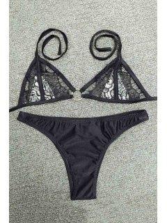 Lace Panel Halterneck Bikini Set - Black S