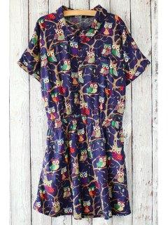 Owls Print Fitting Shirt Collar Short Sleeve Dress - Deep Blue