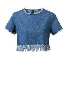 Frayed Denim Crop Top - Blue M