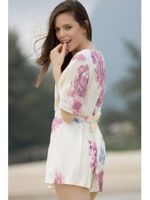 chic Floral Plunging Neck Short Sleeve Romper - COLORMIX M Mobile