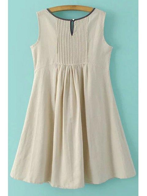women's Pockets Sleeveless Notched Neck Dress - APRICOT S Mobile