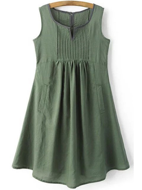 buy Pockets Sleeveless Notched Neck Dress - GREEN S Mobile