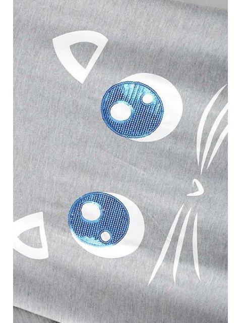 womens Kitten Pattern Short Sleeves T-Shirt - GRAY L Mobile