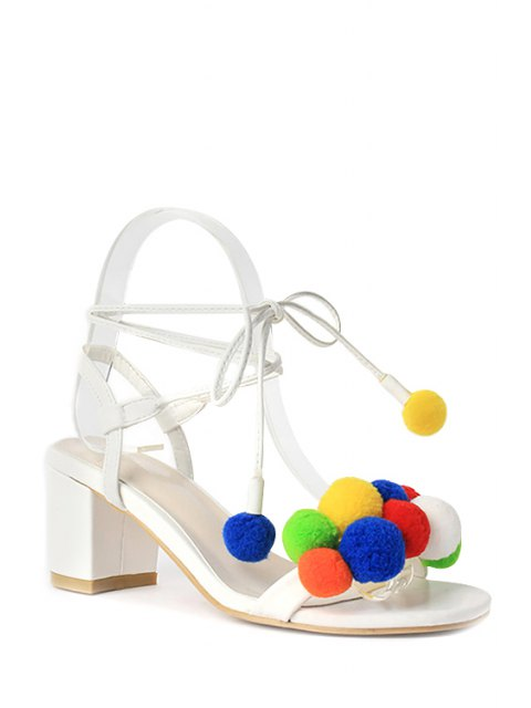 chic Colorful Pompon Lace-Up Chunky Heel Sandals - WHITE 36 Mobile