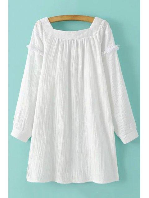 latest White Fringe Square Neck Long Sleeve Dress - WHITE M Mobile
