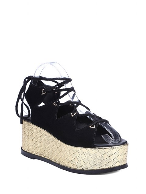 fancy Platform Lace-Up Black Sandals - BLACK 37 Mobile