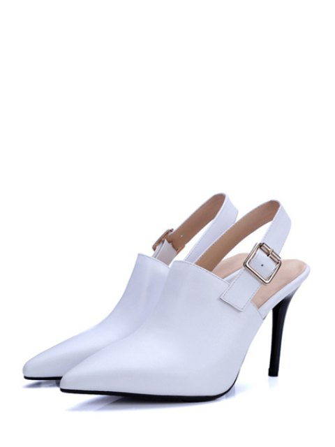 sale Slingback Pointed Toe Stiletto Heel Pumps - WHITE 37 Mobile