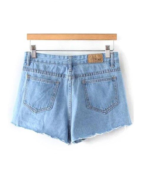 lady Fitting Light Blue Mid-Waist Denim Shorts - LIGHT BLUE M Mobile